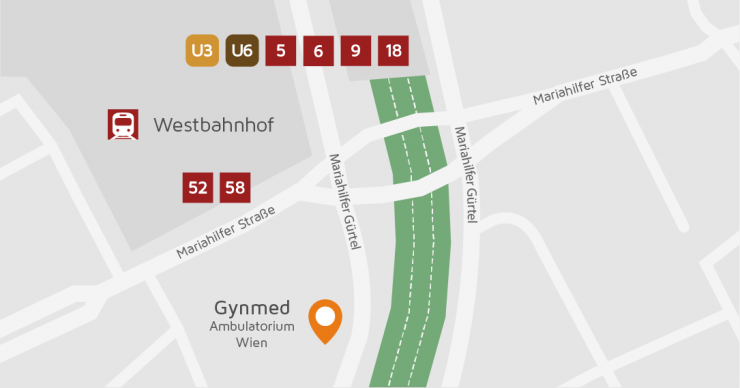 Map Gynmed Clinic Vienna near Westbahnhof